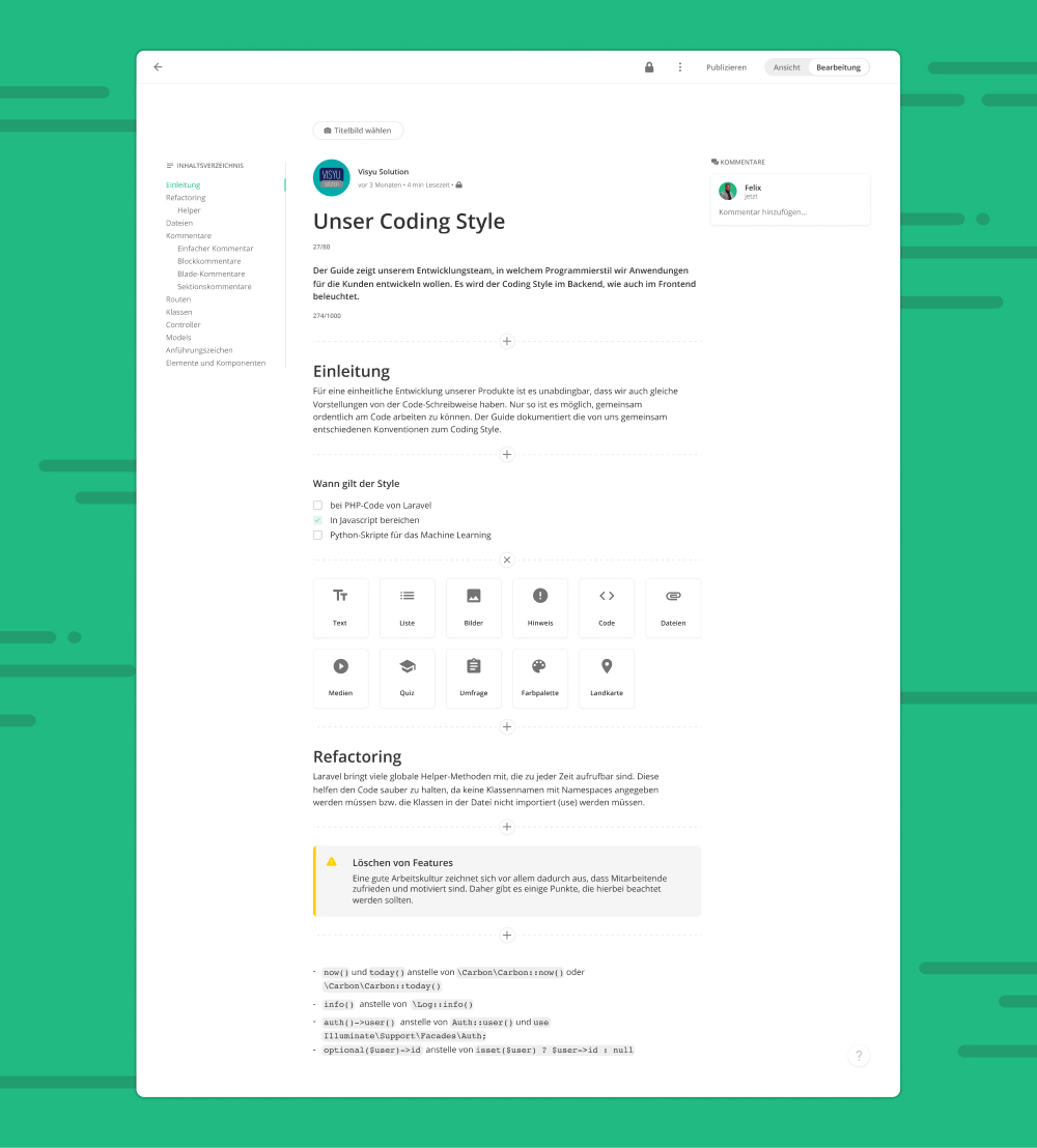 Document knowledge quickly and easily in the editor